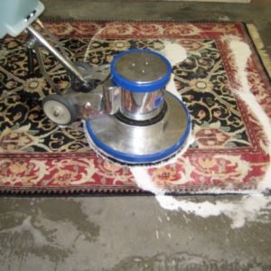wet cleaner on top of a prayer rug